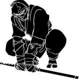 Ninja fighter - vector illustration. Vinyl-ready. Royalty Free Stock Images