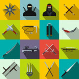 Ninja flat icons set Royalty Free Stock Image
