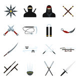 Ninja flat icons set Royalty Free Stock Photos
