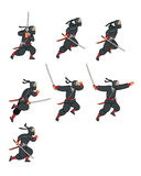 Ninja Game Sprite. Cartoon Illustration of Animation Sequence for Game Sprite Stock Photo