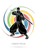 Ninja graphic vector. Royalty Free Stock Photography