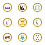 Ninja icon set, cartoon style. Ninja icons set. Cartoon set of 9 ninja vector icons for web isolated on white background Royalty Free Stock Photos