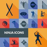 Ninja Icons Black Set Lizenzfreie Stockbilder