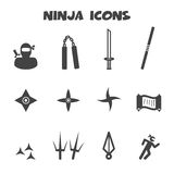 Ninja icons. Mono vector symbols Stock Photography