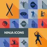 Ninja ikon czerni set Obrazy Royalty Free