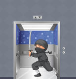 A ninja inside the elevator Stock Photo