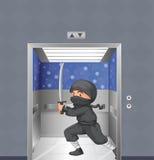 A ninja inside the elevator Stock Photo