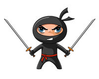 Ninja with katana. Cute furious ninja with katana ready to attack Royalty Free Stock Image