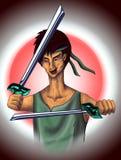 Ninja with katana in training. Ninja with katana training. Character. East Royalty Free Stock Photo