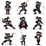 Ninja kids in different poses. A vector illustration of ninja kids in different poses Stock Photo