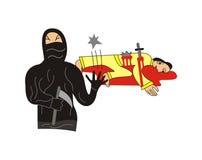 Ninja kills a shogun. My illustration of a ninja who killed a shogun at sleep Stock Photos