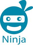 Ninja kreskówki szablon i logo obrazy stock