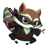 Ninja KungFu Raccoon isolated on White Background. Video Game`s Digital CG Artwork, Concept Illustration, Realistic Cartoon Style Background and Character Royalty Free Stock Images
