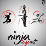 Ninja logo set 3. This pack includes 3 ninja logo concepts designed in a simple way so it can be use for multiple proposes like logo ,marks ,symbols or icons Stock Image