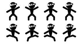 Ninja mężczyzna znaka poza Obrazy Royalty Free