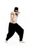 Ninja manhåll baktalar och är klara att anfalla på vit bakgrund Royaltyfria Foton