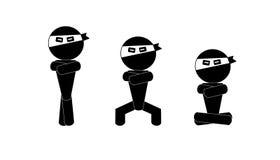 Ninja Mann-Zeichenmeditation Lizenzfreie Stockfotografie