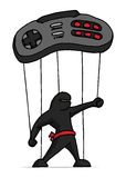 Ninja marionette played by game controller Royalty Free Stock Photography