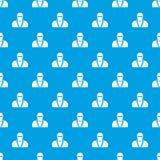 Ninja in mask pattern seamless blue. Ninja in mask pattern repeat seamless in blue color for any design. Vector geometric illustration Royalty Free Stock Photo