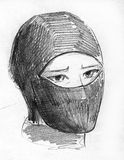 Ninja mask pencil sketch Stock Photos