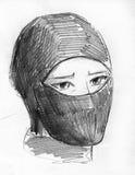 Ninja mask pencil sketch. Hand drawn pencil sketch of a person wearing ninja mask Stock Photos