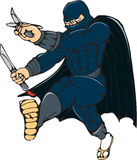 Ninja Masked Warrior Kicking Cartoon Stock Photography