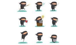 Ninja maskotka Ustawia 1 Obrazy Royalty Free