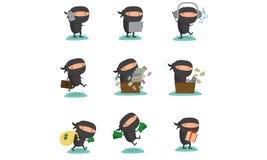 Ninja maskotka Ustawia 3 Zdjęcie Royalty Free
