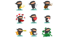 Ninja maskotka Ustawia 5 Obraz Royalty Free