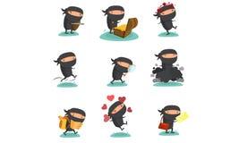 Ninja maskotka Ustawia 4 Zdjęcia Stock