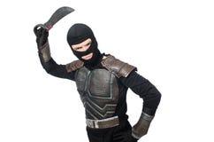 Ninja med den isolerade kniven Royaltyfri Fotografi