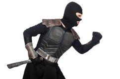Ninja med den isolerade kniven Royaltyfri Foto