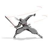 Ninja met Zwaard Stock Foto