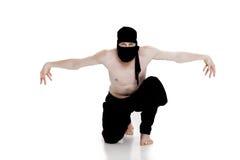 Ninja na białym tle Męski wojownik w czerni ubraniach Obraz Stock