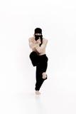 Ninja na białym tle Męski wojownik w czerni ubraniach Fotografia Royalty Free