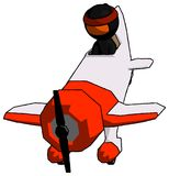 Ninja orange Warrior Man dans l'avant descendant d'avion de cascade de Geebee illustration libre de droits