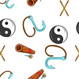 Ninja pattern, cartoon style. Ninja pattern. Cartoon illustration of ninja vector pattern for web Stock Image