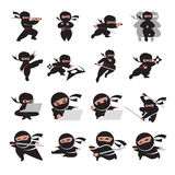 Ninja poses. A vector illustration of different poses of a kid ninja Royalty Free Stock Image