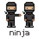 Ninja preto engraçado do pixel Fotografia de Stock Royalty Free