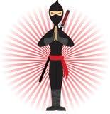 Ninja que se coloca en la actitud acentuada por los rayos rojos Imagenes de archivo