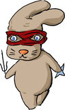 Ninja rabbit cartoon. Ninja rabbit bunny masked martial arts hero cartoon illustration Stock Image