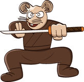 Ninja rat with sword cartoon animal character Royalty Free Stock Photos