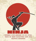 Ninja retro poster vector illustration. Black silhouette of japanese fighter on red sun background. Martial assassin with sword Stock Images
