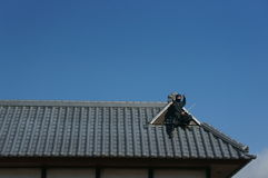 Ninja on the roof Stock Photography