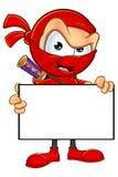 Ninja rosso sornione Character Fotografie Stock