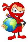 Ninja rosso sornione Character Immagine Stock