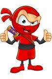 Ninja rosso sornione Character Fotografia Stock