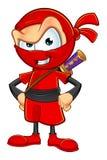 Ninja rosso sornione Character Immagini Stock