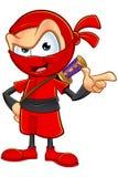 Ninja rosso sornione Character Fotografia Stock Libera da Diritti