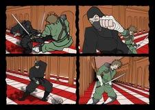 Ninja and samurai comic page. Design of ninja and samurai comic page Stock Photos